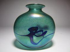 Signed Abstract Iridescent Blue Green Art Glass Flower Bouquet Vase