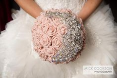 love the pink color.  girls carry blue hydrangea and i carry white and pink roses