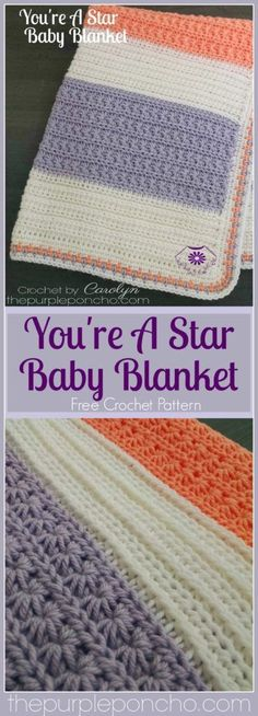 You�re A Star Baby Blanket – Free Crochet Pattern by The Purple Poncho.