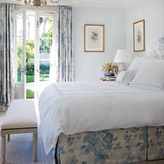Lovely blue and white bedroom---so cool!!!