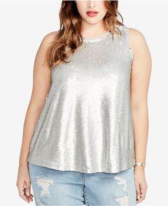 Rachel Roy Trendy Plus Size Reversible Sequined Top
