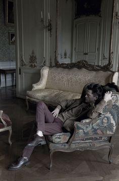 Daniel de la Falaise in L'Uomo Vogue, photographed by Deborah Turbeville