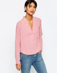 Image 1 of ASOS Casual Textured V Neck Blouse                                                                                                                                                                                 More