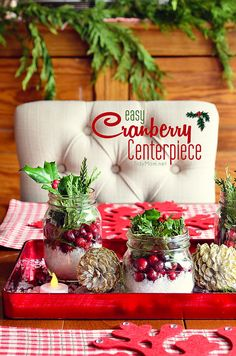 There is something magical about bringing the outside in, with this Easy Cranberry Centerpiece for the holidays. Details at TidyMom.net