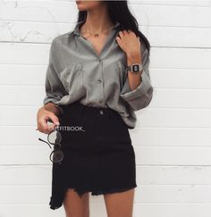 """5,831 mentions J'aime, 10 commentaires - www.outfitbook.fr (@outfitbook_) sur Instagram : """"Oversized shirt x Black Denim Skirt ✅✔️ Chemise ref 5095   Jupe ref 1388   Lunettes ref 025397  …"""""""
