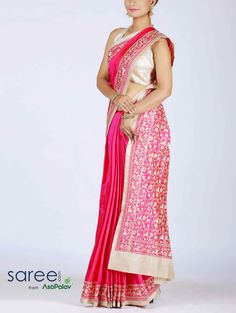 PINK SILK SAREE WITH RESHAM WORK