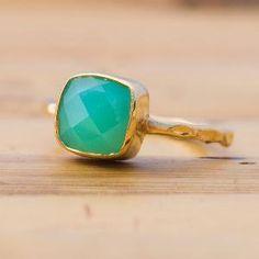 Gemstone Ring  18k Gold Vermeil Chrysoprase Bezel Ring by delezhen