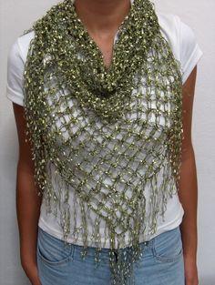 Marlene brady crocheted solomons knot triangle scarf fabric art become reseller ribbon yarncrochet scarfscrochet shawlknit dt1010fo