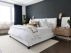 From girly glam bedroom style to neutral living room inspo and boho chic decor, anyone can take an in home decor from Accent Wall Bedroom, Navy Master Bedroom, White Bedroom Decor, Bedroom Ideas, Living Room Accents, Up House, Bedroom Styles, Interior Exterior, Minimalist Bedroom