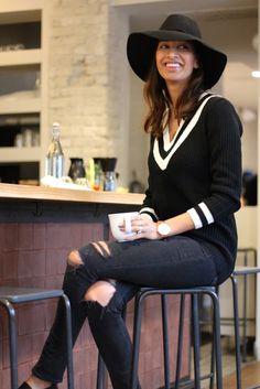 Casual look by @shaheenkhan featuring Lookbook Store's black V neckline sweater. #LBSDaily | Lookbook Store OOTD