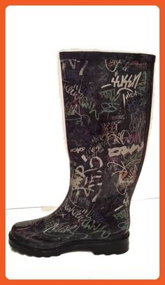 Nature Breeze Washout Black Graffiti Rubber Rain Boots May-07 (10) A020, A022, A023, A024, A025 - Outdoor shoes for women (*Amazon Partner-Link)