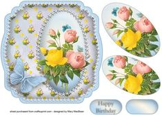 Shabby Chic Mixed Roses Shaped Card on Craftsuprint designed by Mary MacBean - Shabby chic card front with colourful roses and a butterfly. There is a Happy Birthday sentiment or a blank tag for your own message.  - Now available for download!