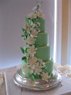 Mint Green Cake with Gardenias