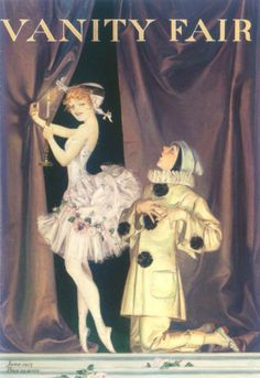 Vanity Fair 'Pierrot and Columbine' cover by Frank X. Leyendecker, June 1915. Oil on board http://fineart.ha.com/c/mobile/view-item.zx?saleNo=5174&lotNo=70287