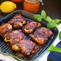 Harissa, a favorite condiment in North African cuisine, gives this simple roasted chicken a fiery and flavorful kick!