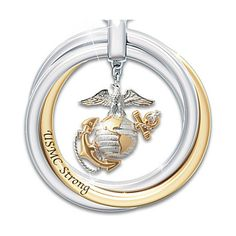 Marine Corps Pendant Necklace With Engraved Rolling Rings And Poem... ($99) ❤ liked on Polyvore featuring jewelry, necklaces, charm pendant necklace, anchor pendant necklace, dangle charms, anchor jewelry and anchor charm necklace