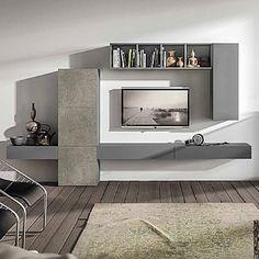 Grey, Elegant 'Master' TV Unit. Beautiful, light and contemporary design. Bookshelves and wall unit. My Italian Living.
