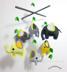 "Baby Mobile - Nursery Mobile - Yellow and grey Elephant Neutral crib Mobile - ""Dancing Feet"" Mobile  (Custom Color Available)"