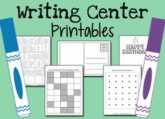 These printables for your Pre-K Writing Center will help teach children the purposes for writing. Printable greeting cards, post cards, dot-to-dot. Writing Center Preschool, Writing Area, Preschool Centers, Work On Writing, Preschool Literacy, Kindergarten Writing, Pre Writing, Preschool Printables, Writing Workshop