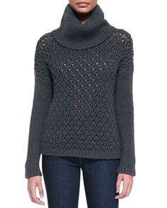 Chunky-Knit Dropped-Shoulder Turtleneck by Alice + Olivia at Bergdorf Goodman.