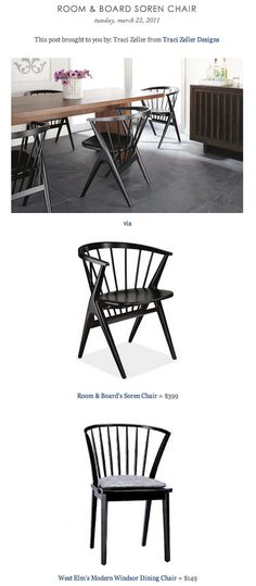 COPY CAT CHIC FIND: Room & Board's Soren Chair VS West Elm's Modern Windsor Dining Chair