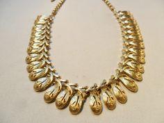 Vintage Necklace / Collar / Choker Gold Tone Metal 52 Grams Art Nouveau Statement Retro Art Deco Mid Century 1950's by KathiJanes on Etsy