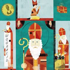Life lessons from sint nicolaas for Visie magazine #sinterklaas #presents #illustration #illustratie #zwartepiet #goedheiligman #gold #saints #icon © 2016 StudioVandaar. All rights reserved. illustrator @jedinoordegraaf