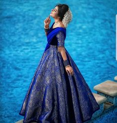 Wearing a blue bridal lehenga for your big day? These blue bridal lehengas will up your glamour quotient. The unique lehenga is in huge demand nowadays. Take cues from these designer lehenga. Brocade Lehenga, Lehenga Saree Design, Half Saree Lehenga, Lehnga Dress, Lehenga Designs, Bridal Lehenga, Silk Brocade, Anarkali Gown, Choli Designs