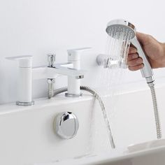 Add a chic, designer touch to your bathroom with the Milano Moven white and chrome bath shower mixer tap Bath Shower Mixer Taps, Bathroom Taps, Bathroom Inspo, Bathroom Inspiration, Modern Bathroom, Bathrooms, Black Bath, Shower Kits, Wall Brackets