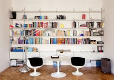 One of many book shelves in Angelika Taschen's loft. Don't know what Taschen is? Check it out: http://www.taschen.com/