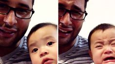 Aw! See this sweet baby burst into tears whenever dad cries