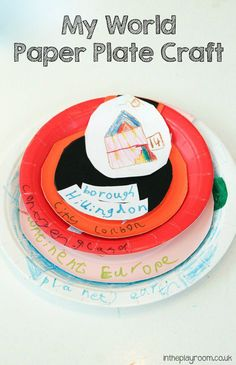 My World paper plate craft with planet, continent, country, city etc right down to house. Good for understanding Geography, and for all about me topics Creative Activities For Kids, Kids Learning Activities, Toddler Activities, Map Activities, Preschool Education, Fun Learning, Toddler Crafts, Preschool Crafts, Crafts For Kids