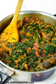 Spinach Stew (Efo Riro) - Chef Lola's Kitchen - Chef Lola's Kitchen - Easy and Tasty Family-Approved Recipes - Spinach Stew (Efo Riro) - Chef Lola's Kitchen African stewed spinach in a pan - African Spinach Recipe, Spinach Recipes, Vegetable Recipes, Vegetable Stock, Fish Recipes, Nigeria Food, Ghana Food, African Stew, West African Food
