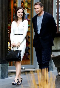 Olivia Wilde and Liam Neeson shot their new film Third Person on Via Veneto, Rome's most exclusive shopping avenue.