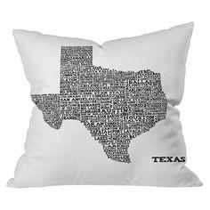 DENY Designs Texas Map Throw Pillow