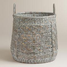 Gray Liam Tote Basket   World Market