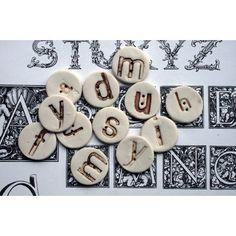 Alphabet buttons   handmade ceramic letter buttons, si possono fare in fimo e usare per vestti bimbi