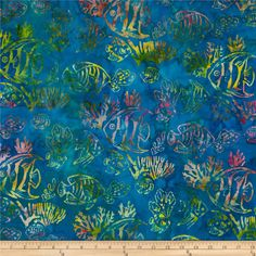 Artisan Batiks: Totally Tropical 2 Fish Caribbean Aqua from @fabricdotcom  Designed by Lunn Studios for Kaufman Fabrics, this Indonesian batik is perfect for quilting and craft projects as well as apparel and home décor accents. Colors include green, orange, pink, yellow, aqua and blue.