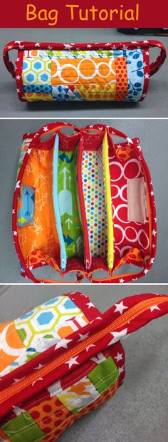 Sew Together Bag. DIY step-by-step tutorial. Сумочка для рукоделия w Sewing Tutorials, Sewing Crafts, Sewing Projects, Free Tutorials, Purse Patterns, Sewing Patterns, Sew Together Bag, Diy Couture, Craft Bags