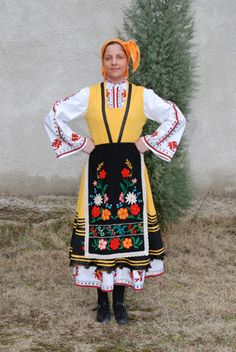 Europe | Portrait of a young woman wearing traditional clothes, Thrace, Bulgaria #kerchief #embroidery