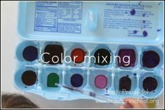 A simple, yet engaging color mixing activity for preschoolers. Preschool Color Activities, Preschool Christmas Activities, Preschool Arts And Crafts, Preschool Music, Preschool At Home, Preschool Science, Preschool Lessons, Preschool Learning, Science Activities