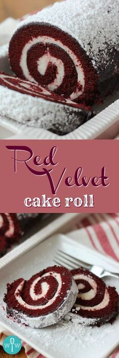 Velvet Cake Roll Red Velvet Cake Roll - A moist, spongy red velvet cake coated in powdered sugar and rolled up around a smooth and creamy cream cheese filling. Holiday Baking, Christmas Baking, Christmas Cheese, Christmas Holiday, Köstliche Desserts, Dessert Recipes, Plated Desserts, Salad Recipes, Red Velvet Cake Roll