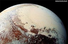 """This high-resolution image captured by NASA's New Horizons spacecraft shows the bright expanse of the western lobe of Pluto's """"heart,"""" or Sputnik Planitia, which is rich in nitrogen, carbon monoxide and methane ices. Nasa Images, New Horizons Pluto, Astronomy Pictures, Hubble Pictures, Nasa Photos, Dwarf Planet, Space Photos, Milky Way, Stars"""