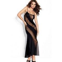 Transparan Siyah Uzun Elbise