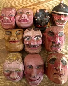 Antique Collection of Mounted Wood Carved Marionette Puppet Doll Heads