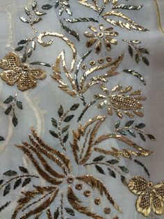 This Pin was discovered by Mru Zardosi Embroidery, Hand Embroidery Dress, Kurti Embroidery Design, Wedding Embroidery, Embroidery Materials, Bead Embroidery Patterns, Couture Embroidery, Embroidery Suits, Gold Embroidery