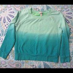 Ombré Sweatshirt Like new green ombré sweatshirt.  French terry on the inside.  80% Cotton, 20% Polyester. Mossimo Supply Co Tops Sweatshirts & Hoodies