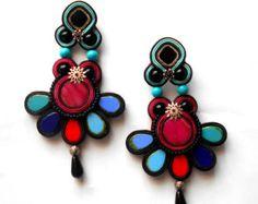 Long soutache earrings by BozenaKorwatJewelry on Etsy
