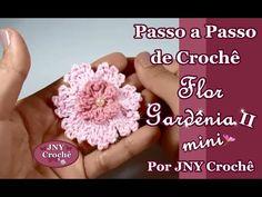 Passo a Passo Flor Gardênia II (mini) por JNY Crochê Crochet For Beginners, Irish Crochet, Crochet Flowers, Crochet Stitches, Swatch, Projects To Try, Knitting, Jewelry, Mary