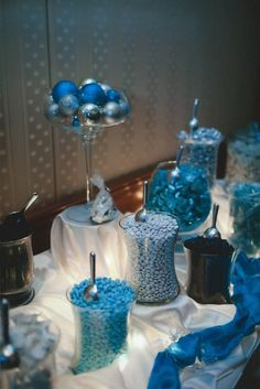 Winter Wonderland Wedding Candy Buffet #wedding #candy #candywarehouse